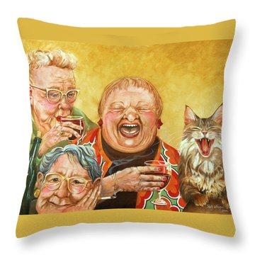 Miriam's Tea Party Throw Pillow by Shelly Wilkerson