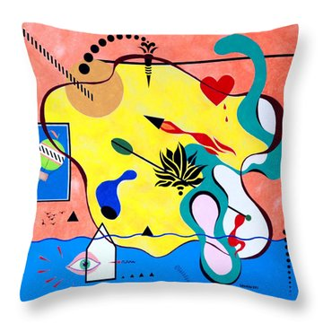Throw Pillow featuring the painting Miro Miro On The Wall by Thomas Gronowski