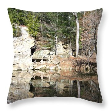 Throw Pillow featuring the photograph Sugar Creek Mirror by Pamela Clements