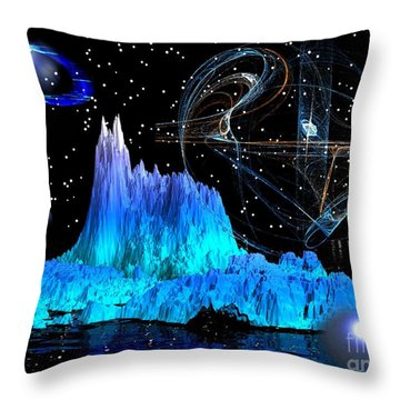 Mirrored Blue Image Throw Pillow