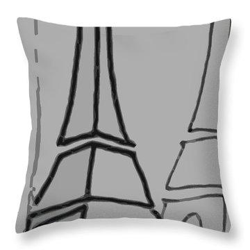 Mirrored Eiffel Tower Throw Pillow