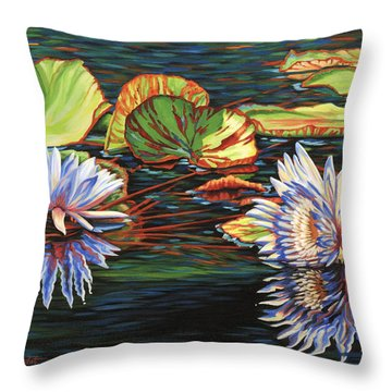 Mirrored Lilies Throw Pillow