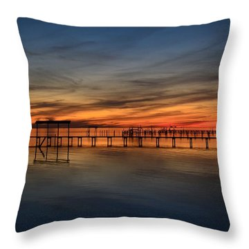 Mirrored Sunset Colors On Santa Rosa Sound Throw Pillow by Jeff at JSJ Photography