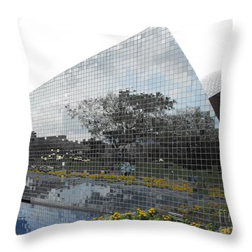 Mirrored Wall At Epcot Throw Pillow by Erick Schmidt