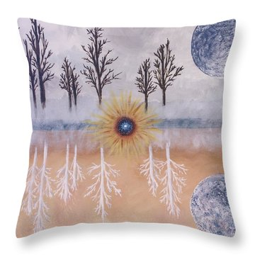 Mirrored Worlds  Throw Pillow