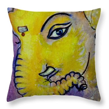 Mischievous Ganesha Throw Pillow