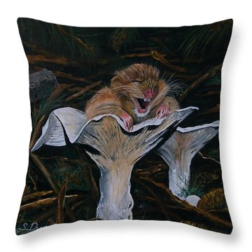 Throw Pillow featuring the painting Mischievous Molly by Sharon Duguay