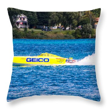 Miss Geico With Rooster Tail Throw Pillow
