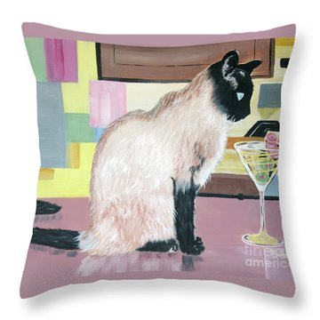 Miss Kitty And Her Treat Throw Pillow