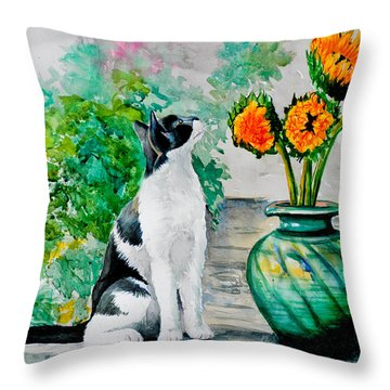 Da129 Miss Kitty Daniel Adams Throw Pillow