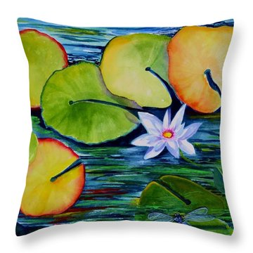 Whimsical Waterlily Throw Pillow