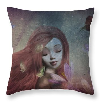 Throw Pillow featuring the digital art Miss Little Crocus by Barbara Orenya