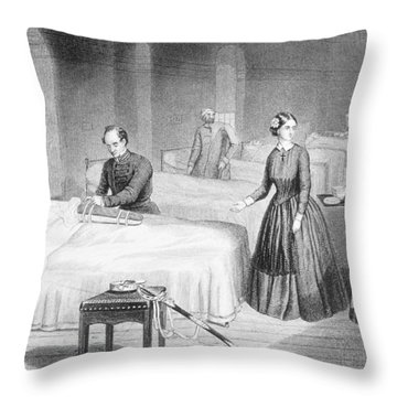 Miss Nightingale In The Hospital Throw Pillow by Robert Neal Hind