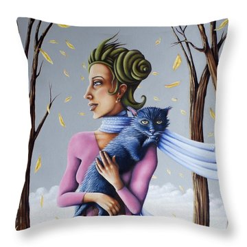 Throw Pillow featuring the painting Miss Pinky's Outing by Valerie White