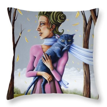 Miss Pinky's Outing Throw Pillow
