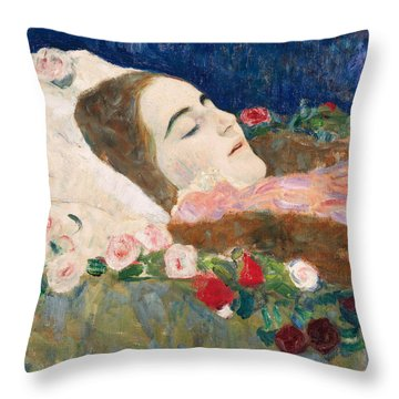 Miss Ria Munk On Her Deathbed Throw Pillow by Gustav Klimt