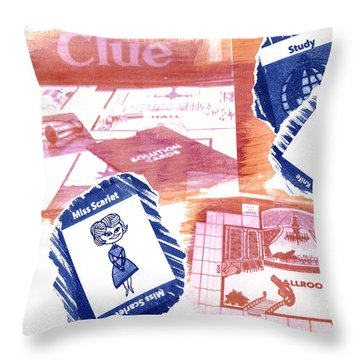 Miss Scarlet In The Study With A Knife Throw Pillow by Caitlyn  Grasso