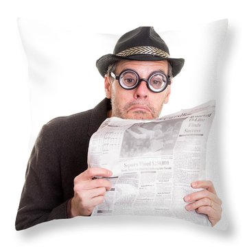 Miss You In The Funny Papers Throw Pillow by Edward Fielding