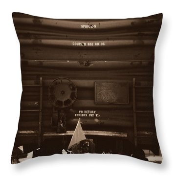 Missing It's Caboose Throw Pillow by Deborah Fay