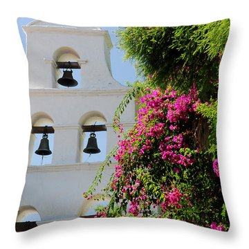 Throw Pillow featuring the photograph Mission Bells by Howard Bagley