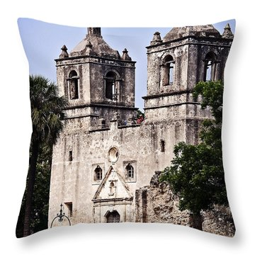 Mission Concepcion Throw Pillow by Andy Crawford