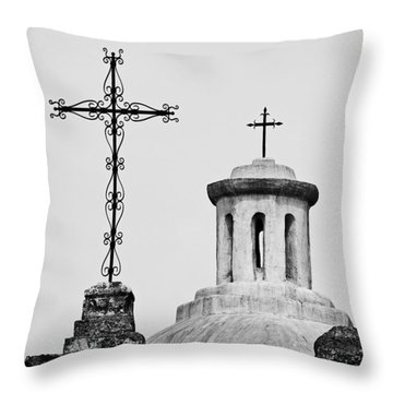 Mission Concepcion Crosses Throw Pillow by Andy Crawford