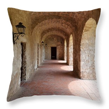 Mission Concepcion Promenade Walkway In San Antonio Missions National Historical Park Texas Throw Pillow by Shawn O'Brien