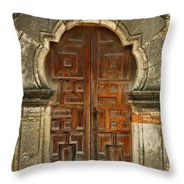 Throw Pillow featuring the photograph Mission Espada Door  by Olivia Hardwicke