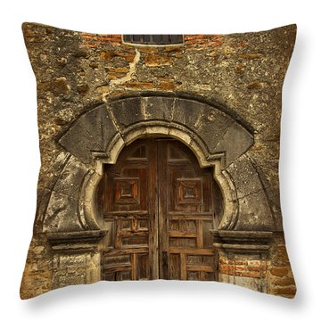 Throw Pillow featuring the photograph Mission Espada Doorway by Jemmy Archer