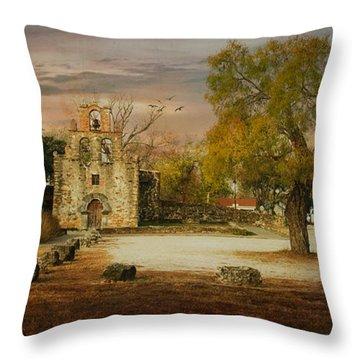 Mission Espada Morning Light Throw Pillow by Iris Greenwell