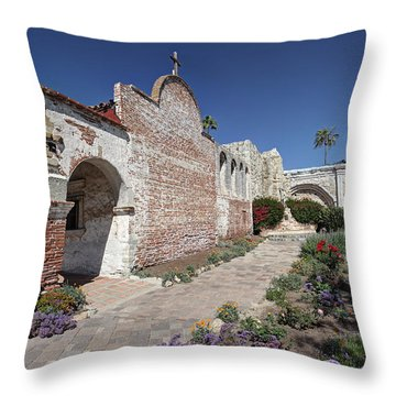 Throw Pillow featuring the photograph Mission Plaza Capistrano by Martin Konopacki