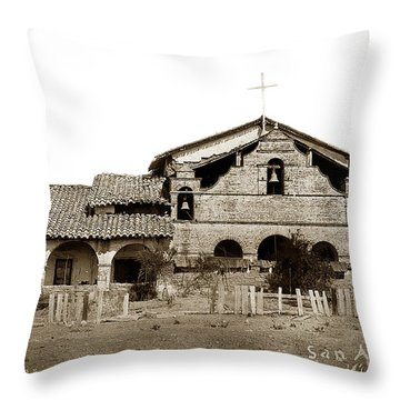 Mission San Antonio De Padua California Circa 1885 Throw Pillow by California Views Mr Pat Hathaway Archives