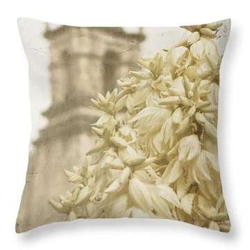 Mission San Jose And Blooming Yucca Throw Pillow