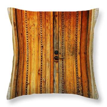 Mission San Juan Capistrano Door -- San Antonio Throw Pillow