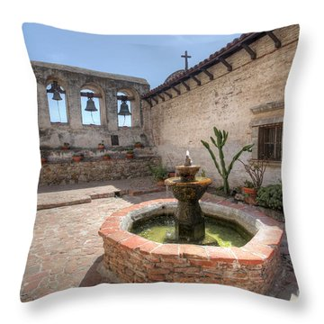 Throw Pillow featuring the photograph Mission Bells San Juan Capistrano by Martin Konopacki