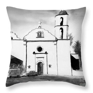 Mission San Luis Rey Bw Blue Throw Pillow by Kip DeVore