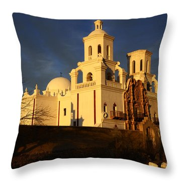 Mission San Xavier Del Bac Last Light Throw Pillow by Bob Christopher