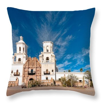Throw Pillow featuring the photograph Mission San Xavier Del Bac Panorama by Dan McManus