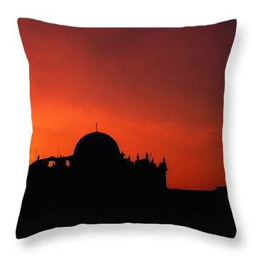 Mission San Xavier Del Bac Sunset Silhouette Throw Pillow
