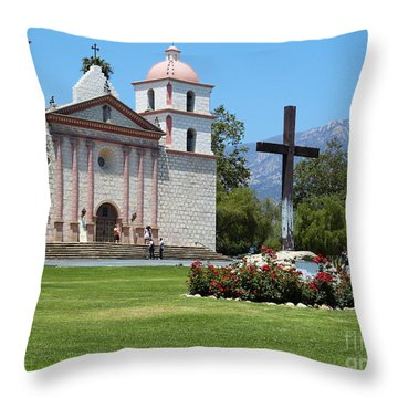 Mission Santa Barbara Throw Pillow by Methune Hively