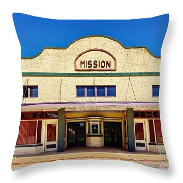 Mission Theater Throw Pillow by Gary Richards