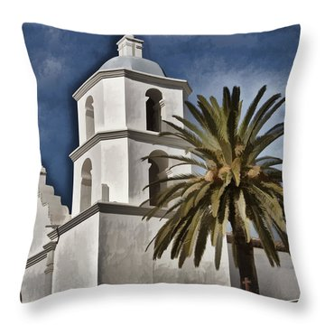 Mission Tower - San Luis Rey Throw Pillow