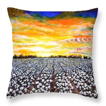 Mississippi Delta Cotton Field Sunset Throw Pillow