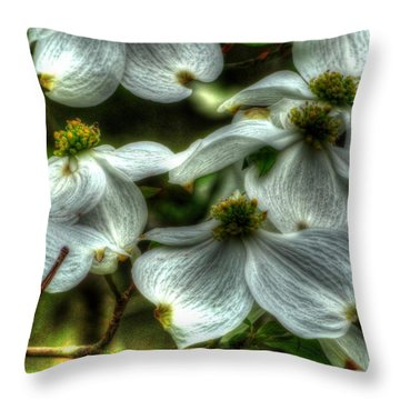 Mississippi Dogwood Throw Pillow by Lanita Williams