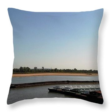 Throw Pillow featuring the photograph Mississippi River Barge by Kelly Awad