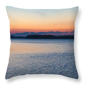 Mississippi River Sunrise Throw Pillow by David Yunker