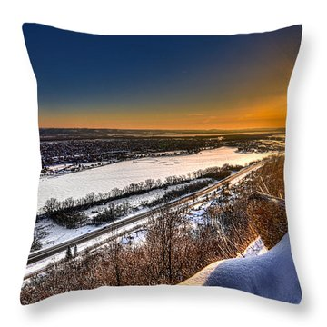 Mississippi River Sunrise Throw Pillow by Tom Gort