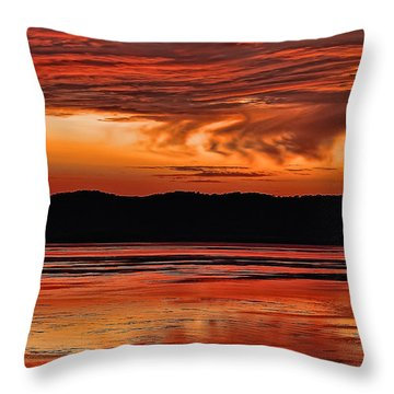 Throw Pillow featuring the photograph Mississippi River Sunset by Don Schwartz