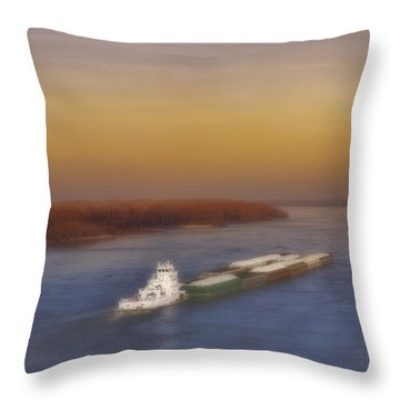 Mississippi Sunset Throw Pillow