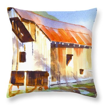 Missouri Barn In Watercolor Throw Pillow